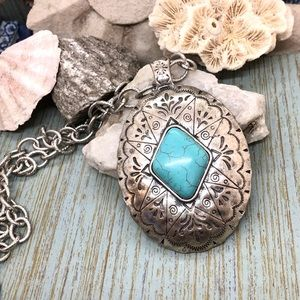 Large Turquoise Indian type carving necklace